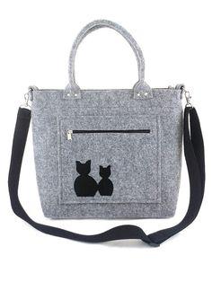 6cac2ff4bd333 Handbag Felt purse Bag for women Grey bag Cat bag by Torebeczkowo,  #Cathandbag #