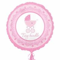 Celebrate Girl Baby Shower Balloon has the message 'Tiny bundle' printed in pink script. Celebrate Girl Baby Shower Balloon is made of durable foil. Round Balloons, Mylar Balloons, Baby Shower Balloons, Latex Balloons, Birthday Balloons, Baby Shower Party Supplies, Kids Party Supplies, Halloween Costume Shop, Halloween Costumes For Kids