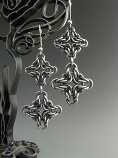 Sterling Silver Double Diamond Chainmail Earrings. $65.00, via Etsy.