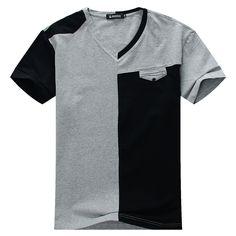 Pas cher Taille plus 8XL 7XL 6XL 5XL hauts pour hommes Tees 2015 été nouvelle coton v cou à manches courtes t chemise hommes tendances de la mode remise en forme t shirt, Acheter  T-Shirts de qualité directement des fournisseurs de Chine: