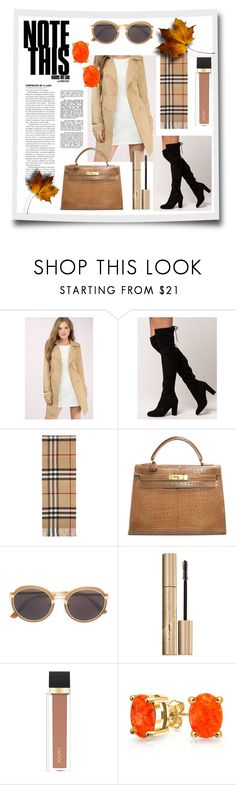 """""""FASHION SEPTEMBER"""" by artanna ❤ liked on Polyvore featuring Tobi, Delicious, Burberry, Hermès, Linda Farrow, Stila, Jouer and Bling Jewelry"""