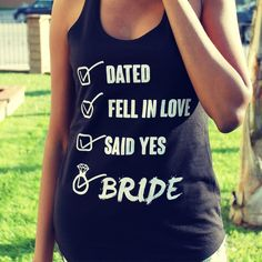 """The Bride Checklist is the newest addition to our bridal apparel line! This cute tank makes a statement and is perfect to wear during your wedding  prep days! It's a great gift for the newly engaged woman to show off her new title """"Bride""""!Our tanks are made of Light Weight French Terry 165g 4.9oz 50% Cotton 50% Poly. Fabric Made in U.S.A."""