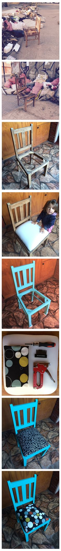 Dos sillas separadas, abandonadas,  transformadas en parte del paisaje de un basurero de la ciudad de Santiago. Fueron recogidas, limpiadas y transformadas para volver a ser parte de otra conversación, otra sobremesa y porque nó? de otra vida.