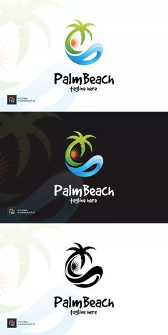 Palm Beach - Logo Template AI, EPS You are in the right place about travel design presentation Here Travel And Tours Logo, Travel Logo, Palm Beach, Best Logo Design, Branding Design, Graphic Design, Envato Elements, Beach Logo, Resort Logo