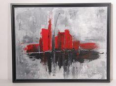 Peinture abstraite acrylique sur toile 16'' x 20'' par artcm, $225.00