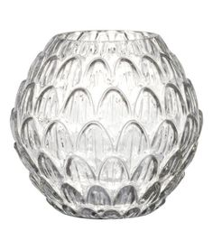 Check this out! Round vase in textured glass. Diameter at top 3 in., height 5 1/2 in. - Visit hm.com to see more.
