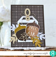 Card by Amy Sheffer. Reverse Confetti stamp set: Happy Harvest. Confetti Cuts: Happy Harvest, Big Stripes Tag Layer, Hang Up, Too, and Wheat. Thank you card. Autumn card. Friendship card.