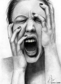 expressive self portrait with gestures Pencil Art Drawings, Art Drawings Sketches, Pencil Portrait, Portrait Art, Portraits, Screaming Drawing, Screaming Girl, Pintura Graffiti, Illusion Kunst