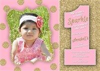 Printable Blush & Gold Glitter First Birthday Invitations with Photo