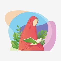 Hijab Cartoon, Cartoon Outfits, Reading Cartoon, Moon Cartoon, Quran Book, Hijab Drawing, Girl Glasses, Islamic Cartoon, Arabian Art