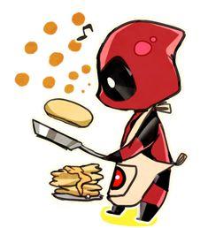 Chibi Deadpool making pancakes