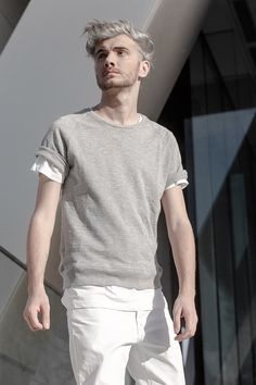 The Fashion jumnper in All-White , fashion editorial All White, White Fashion, Shades Of Grey, Editorial Fashion, Jumper, That Look, Mens Tops, Shades Of Gray Color, Jumpers