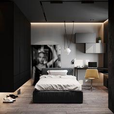 Edgy Bedroom, Black And Grey Bedroom, Dark Grey Rooms, Black Bedroom Design, Grey Bedroom Decor, Bedroom Setup, Room Design Bedroom, Girl Bedroom Designs, Bedroom Wardrobe