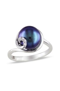 Sterling Silver 9-9.5mm Black Freshwater Pearl & Diamond Swirl Ring 0.02 ctw