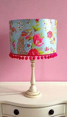 "Pip Studio Handmade Wallpaper Lampshade Flowers and Birds Blue and Pink 12"" x 8"" 