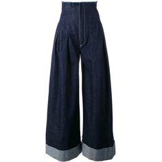 Jacquemus denim palazzo pants (10.367.695 VND) ❤ liked on Polyvore featuring pants, jeans, blue, cotton pants, cotton trousers, blue pants, blue trousers and blue denim pants