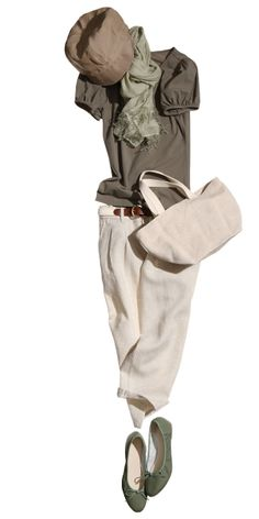 White or cream colored pants with olive green shirt. Wear with leather sandals or wedges Spring Fashion Outfits, Look Fashion, Womens Fashion, Looks Style, Style Me, Mode Outfits, Casual Outfits, Beige Hose, Muji Style