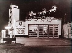 An old Gulf station decorated for Christmas!