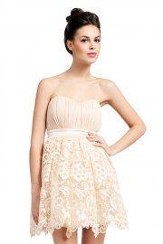 418e61b329 Little Mistress Cream Bandeau Lace Detail Puffball Prom Dress Now £35.00  Lace Detail