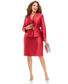 Curvy Woman Red Taffeta Skirt Suit and White High Heels