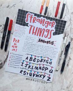 i love stranger things Bullet Journal Notes, Bullet Journal Writing, Bullet Journal School, Bullet Journal Ideas Pages, Bullet Journal Inspiration, Book Journal, Cute Notes, Pretty Notes, School Notebooks