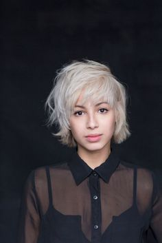 Cristina's platinum blonde bob hair with bangs using #newwash by #hairstory