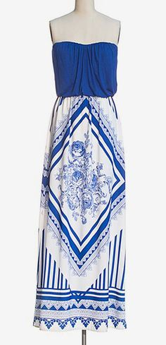 "Love it! But maxi dresses in me?? HA! THAT'S A FUNNY JOKE!! ""Royal Blue & White Scarf Strapless Maxi Dress"""