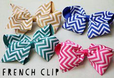 Chevron Print Oversize Bows with French Clips