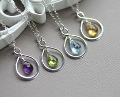 Set of FOUR 4 Infinity Necklaces Bridesmaid Gifts by LRoseDesigns