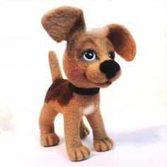 Cute Needle felted project wool animals dog pets(Via @efremova61)