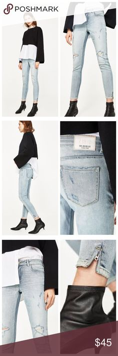 Zara mid-rise skinny jeans - NWT!! Zara mid-rise skinny jeans - NWT!! Light blue. Five pockets. Side zip detail on the hem. Front button and zip fastening. Model height in photo is 5'8 for reference. Smoke-free home Zara Jeans Skinny