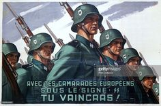French recruitment poster for the SS, 1943-1944. Frenchmen were eligible to join the SS from 20 July 1943. Several thousand volunteered and in 1944 the 33rd SS 'Charlemagne' Division was created out of an amalgamation of French units serving with the Wehrmacht and SS. The division fought on the Eastern Front. In the final days of the Third Reich, French SS troops were amongst the guards of Hitler's bunker.