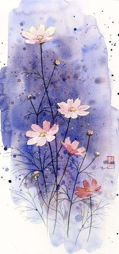 Cosmos watercolor painting with purple wash.