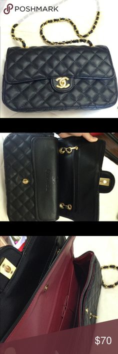 Black Quilted Flip Bag Price reflects authenticity! Please don't ask the obvious. Reposhed from another posher. Its a beautiful Chanel medium flap bag look a like with gold hardware. I just have too many bags and just looking for a fast sell. Never worn and in great condition. Open to offers. Bag Bags Crossbody Bags