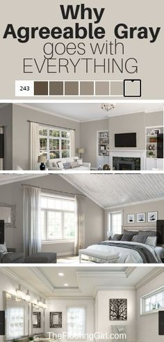 Agreeable Gray is the perfect greige paint and goes with everything. Find out why. bedroom paint colors Agreeable Gray, the Ultimate Neutral Greige Paint Color Neutral Gray Paint, Blue Gray Paint Colors, Greige Paint Colors, Bedroom Paint Colors, Paint Colors For Home, Wall Painting Colors, Blue Room Paint, Calm Colors For Bedroom, Blue Gray Walls