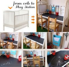 Turn the baby crib into kids craft desk #diy #for kids #recycling