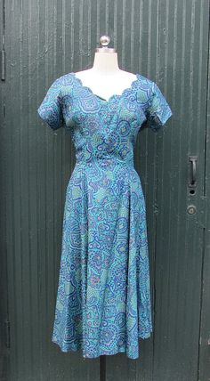 Vintage 50's Paisley Scallop Collar Dress By by lovestreetsf