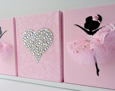 Ballerinas and heart nursery wall art in pink and silver .- Ballerinas und Herz Kinderzimmer Wandkunst in rosa und Silber. Ballerinas and heart nursery murals in pink and Nursery Wall Art, White Nursery, Girl Nursery, Girl Room, Canvas Wall Art, Baby Room, Painting Canvas, Nursery Murals, Painting Walls