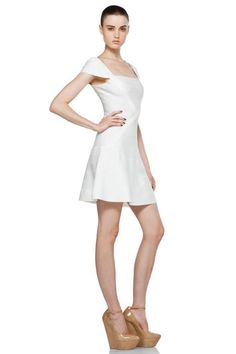 Herve Leger Cap-Sleeve A-Line Bandage Dress White Only $185.90