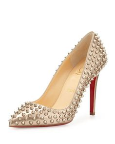 Pigalle Spikes Red Sole Pump, Beige/Gold by Christian Louboutin at Bergdorf Goodman.