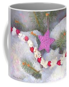 """Visitors to this pin might like to see this image """"Cranberry Garlands Christmas Star In Orchid"""" online at Fine Art America and Pixels (Click the image). Ceramic coffee mug comes in two sizes: 11 oz. and 15 oz. The image can also be purchased as prints, greeting cards, phone cases, clothing, and more, at link: https://pixels.com/featured/cranberry-garlands-christmas-star-in-orchid-nancy-lee-moran.html ♡ Thank you from the artist! Art © Nancy Lee Moran #NancyLeeMoran #Christmas #coffeemug"""