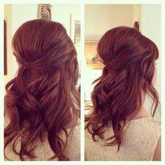 Retro bouffant, half up bridal hair