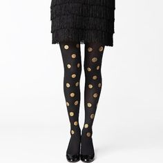 Kate spade gold glitter polka dot tights m/l Kate spade gold glitter polka dot tights in a m/l. Glitter is coming off in several areas and pictures show what this looks like but not every single spot. Mostly on back of tights. kate spade Other