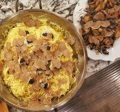 Scallops (freshly shucked), caviar and white alba truffles... and wild mushrooms and #truffles. #DaveTurns40withCaviar #caviar
