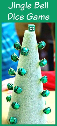 Christmas math game for kids to play using jingle bells
