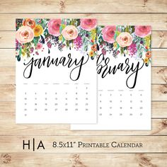2016 Floral Printable Calendar