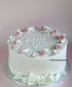 Pretty Cakes, Cute Cakes, Beautiful Cakes, Amazing Cakes, Baby Girl Christening Cake, Baby Girl Cakes, 16 Cake, Cupcake Cakes, First Communion Cakes