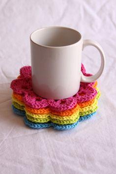 apoio para xícaras em crochê