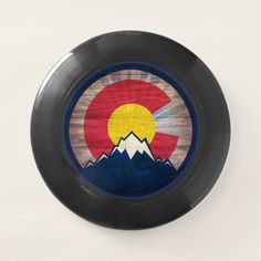 Rustic wood Colorado flag mountains frisbee - tap/click to personalize and buy #rustic, #wood, #colorado, #flag, #mountains,