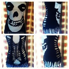"OOAK DiY reconstructed ""The Misfits"" Rockabilly M Slashed Shirt"